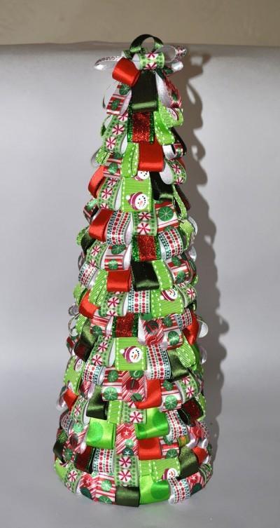 новогодняя елка из лент своими руками