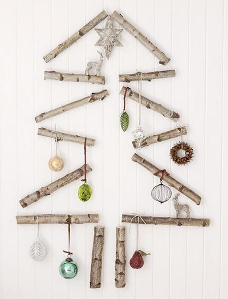 оригинальная новогодняя елка из веток своими руками