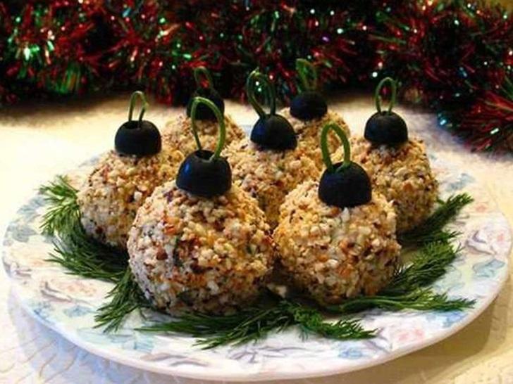Закуска «Елочные шары» новогодние закуски