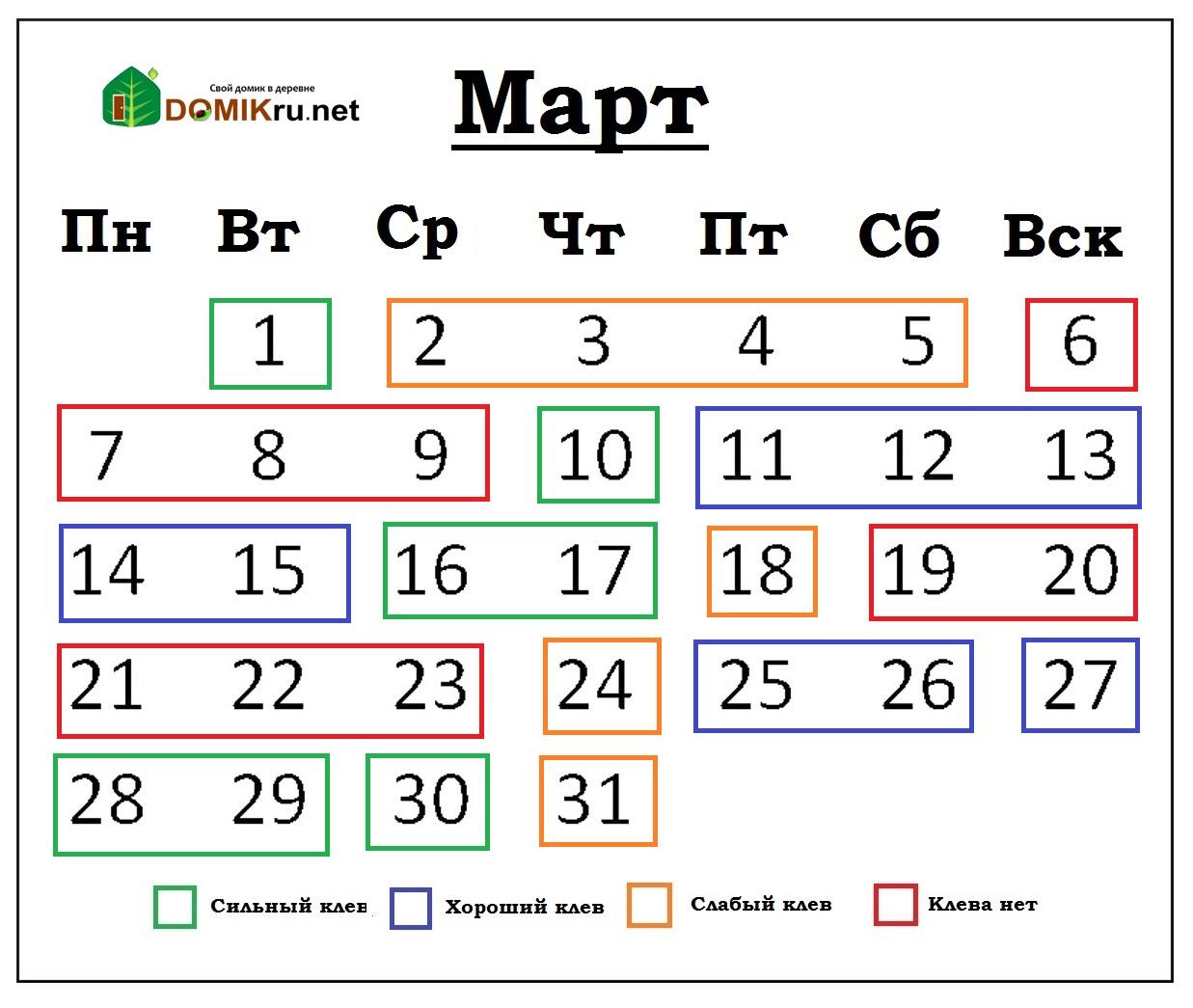 календарь рыбака -2016 март