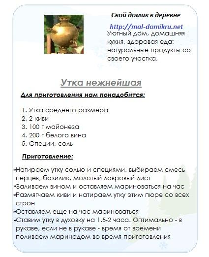 """Утка нежнейшая-Домашняя кухня на сайте """"Свой домик в деревне"""""""