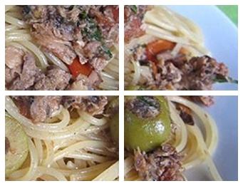 Салат с макаронами, тунцом и грибами