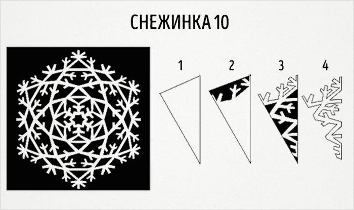 как сделать круглую снежинку схема 10