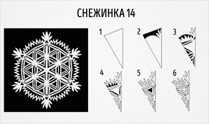 как сделать круглую снежинку схема 14
