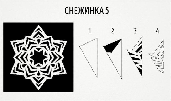 как сделать круглую снежинку схема 5