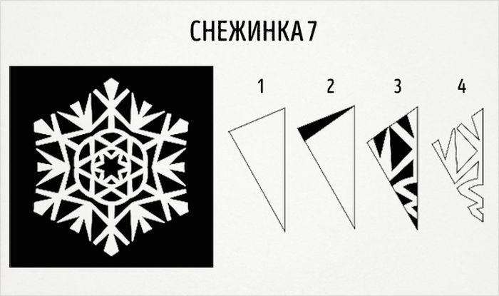 как сделать круглую снежинку схема 7