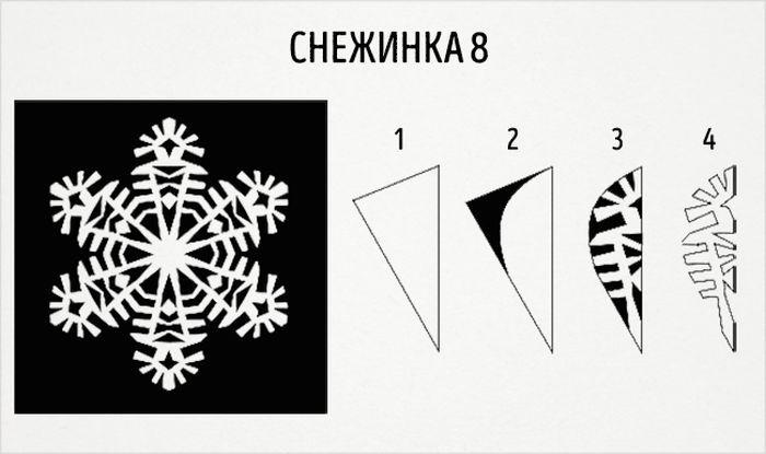 как сделать круглую снежинку схема 8