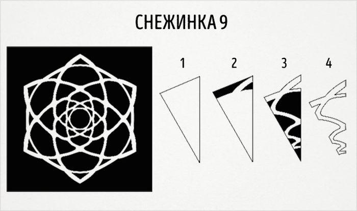 как сделать круглую снежинку схема 9
