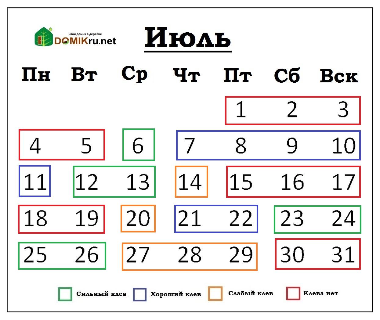 календарь рыбака -2016 июль