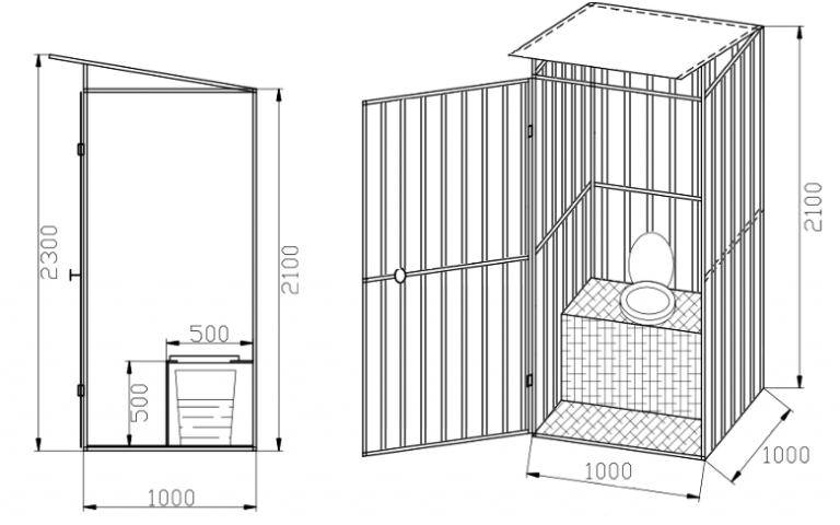 Как построить туалет на даче своими руками фото чертежи 33
