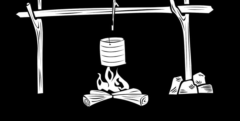 Полевая каша на костре изысканная — с сомом и петухом