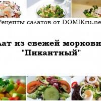 Салат из свежей моркови «Пикантный»